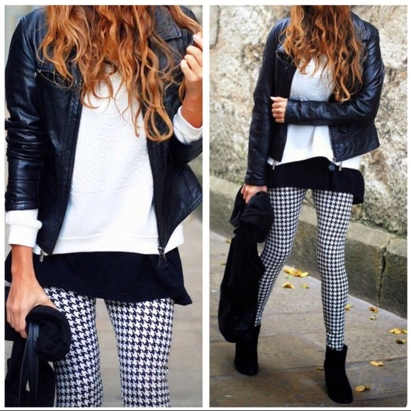 Houndstooth Print Leggings Buttery Soft PLUS Size 12-18 TC Black And White